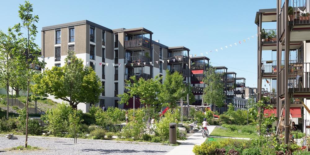Siedlung Entlisberg, Allgemeine Baugenossenschaft Zürich, Architektur: Meier Hug Architekten, Landschaft: Schmid Landschaftsarchitekten